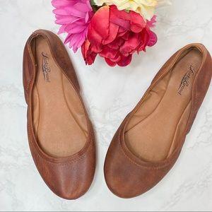 Lucky Brand Emmanuel Leather Flats Cognac Brown